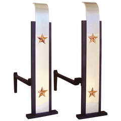 Pair of American Art Deco Patriotic Chenets/Andirons in Tricolour Metal
