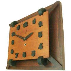 Rare French Art Deco Tri-Colour Wood Mechanical Wall Clock by JAZ.