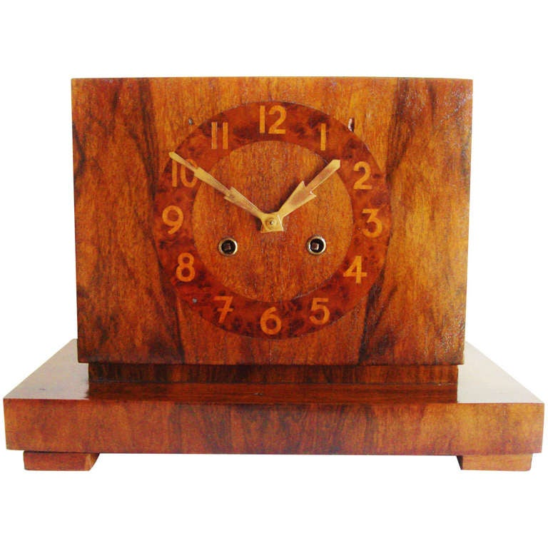 Very Rare Belgian Art Deco Architectural Mantel Clock by Maison Duray