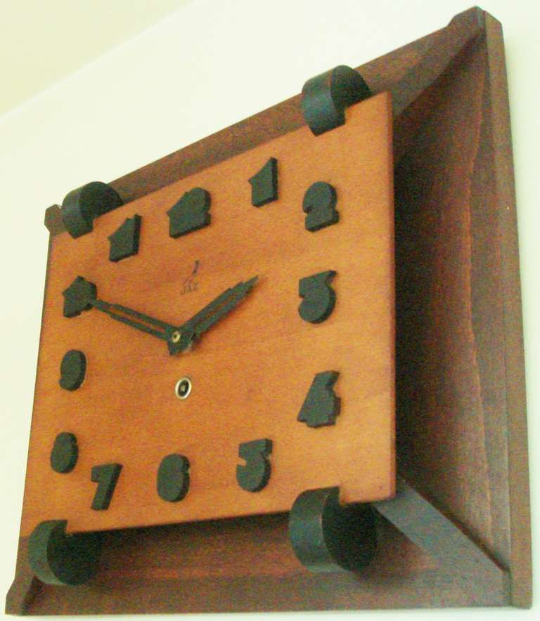 Nice Rare French Art Deco Tri Colour Wood Mechanical Wall Clock By JAZ. 2 Part 27