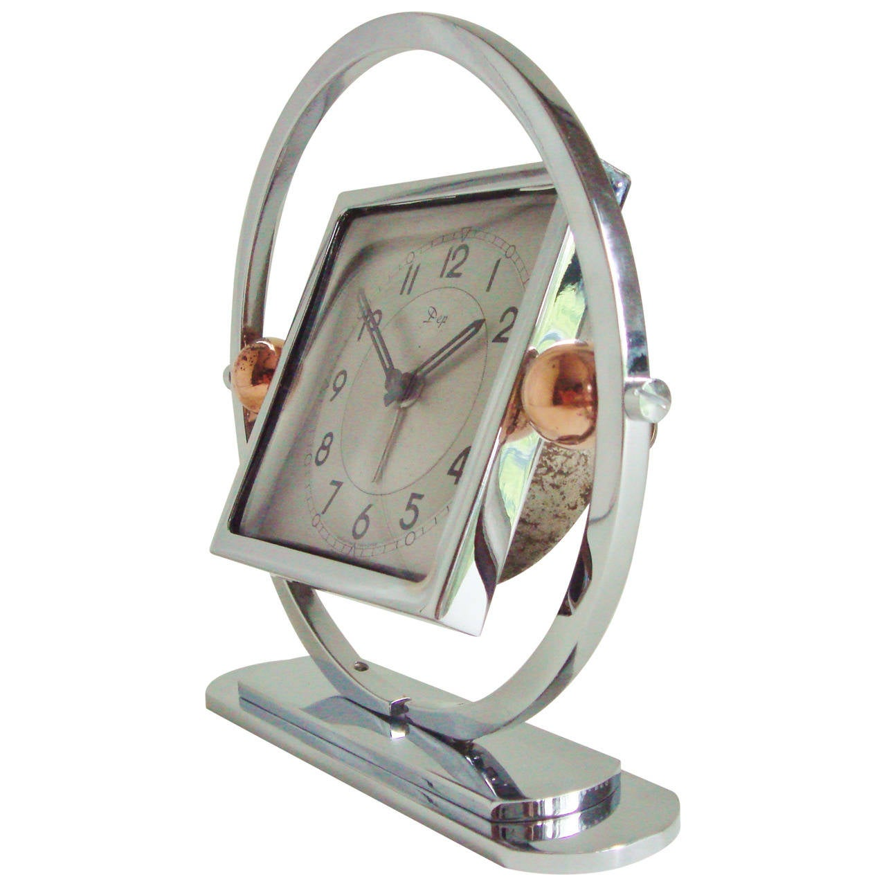 French Art Deco Chrome and Copper Mechanical Tilt Alarm Clock by DEP