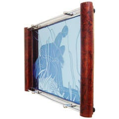Art Deco Wood, Chrome and Blue Mirror Reverse Etched Boy and Panther Tray