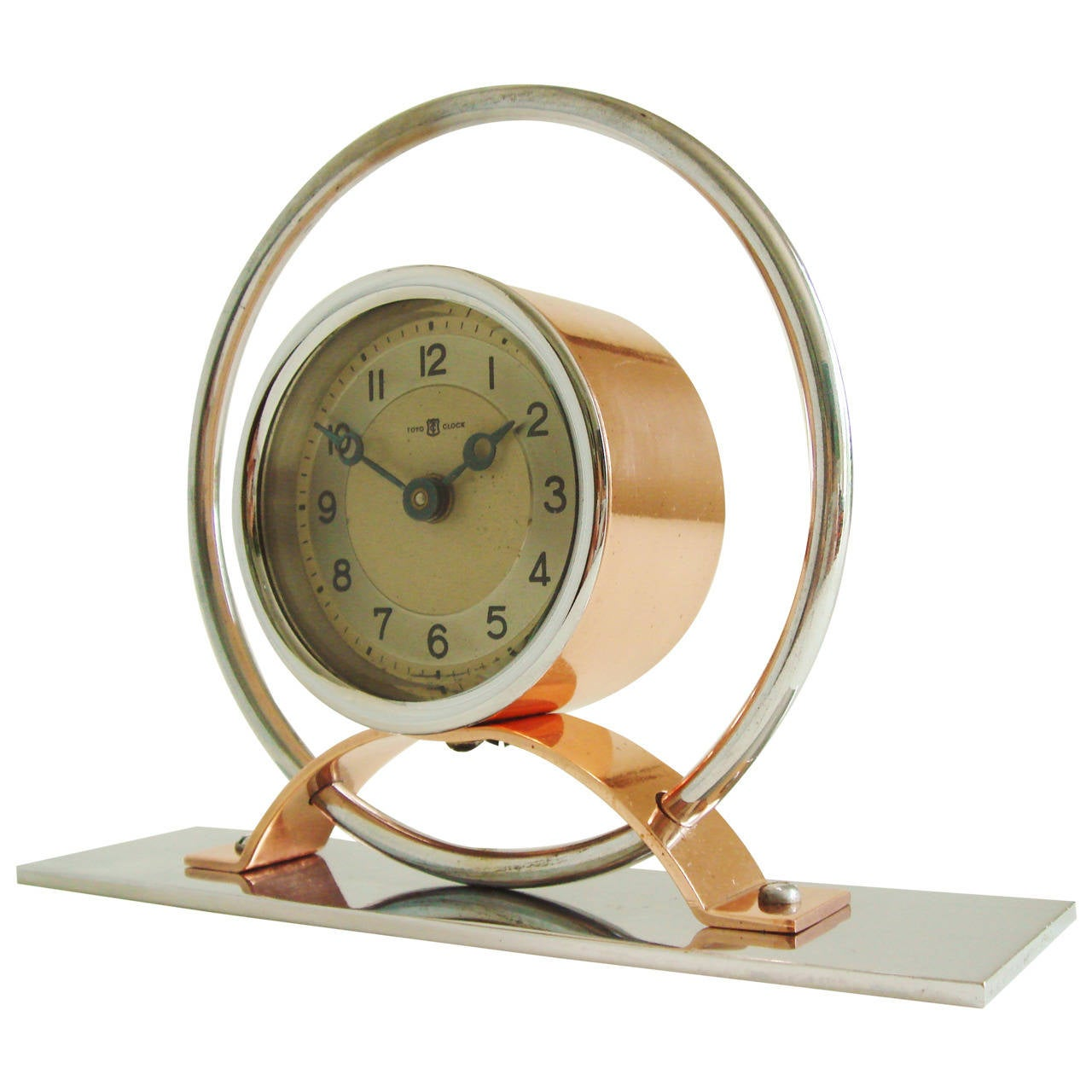 Japanese Art Deco Chrome and Copper Geometric Mechanical Alarm Clock by Toyo
