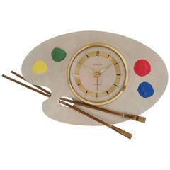 "German Post-War Figural ""Artist's Palette"" Alarm Clock by Europa"