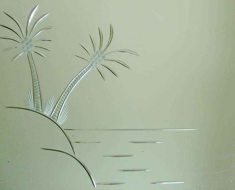 English Art Deco Wall Mirror With Etched Palm Trees And