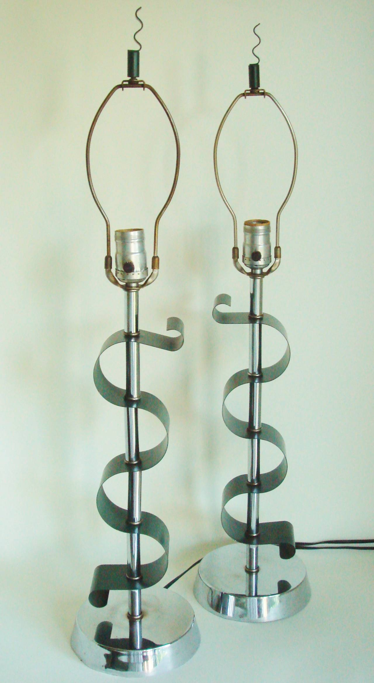 Pair of American Mid Century Chrome and Green