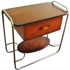 French Art Deco Tubular Chrome and Minked Veneer Wood Telephone Table