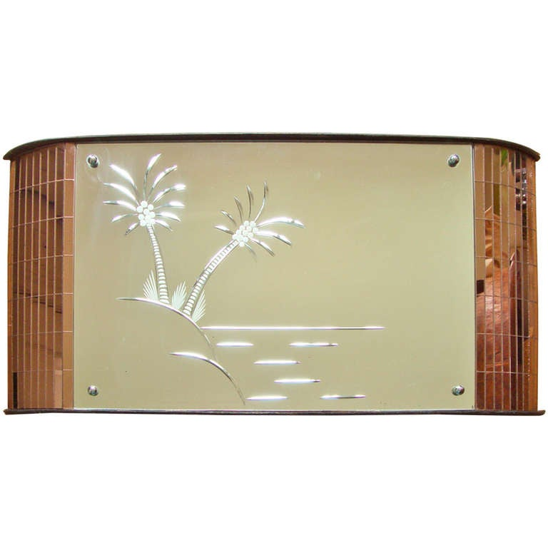 Art Deco Wall Mirror english art deco wall mirror with etched palm trees and peach