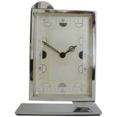 German Art Deco Chrome Asymmetrical Mechanical Desk Clock