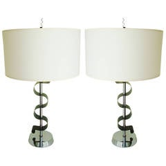 "Pair of American Mid Century Chrome and Green ""Ribbon"" Table Lamps by Laurel"