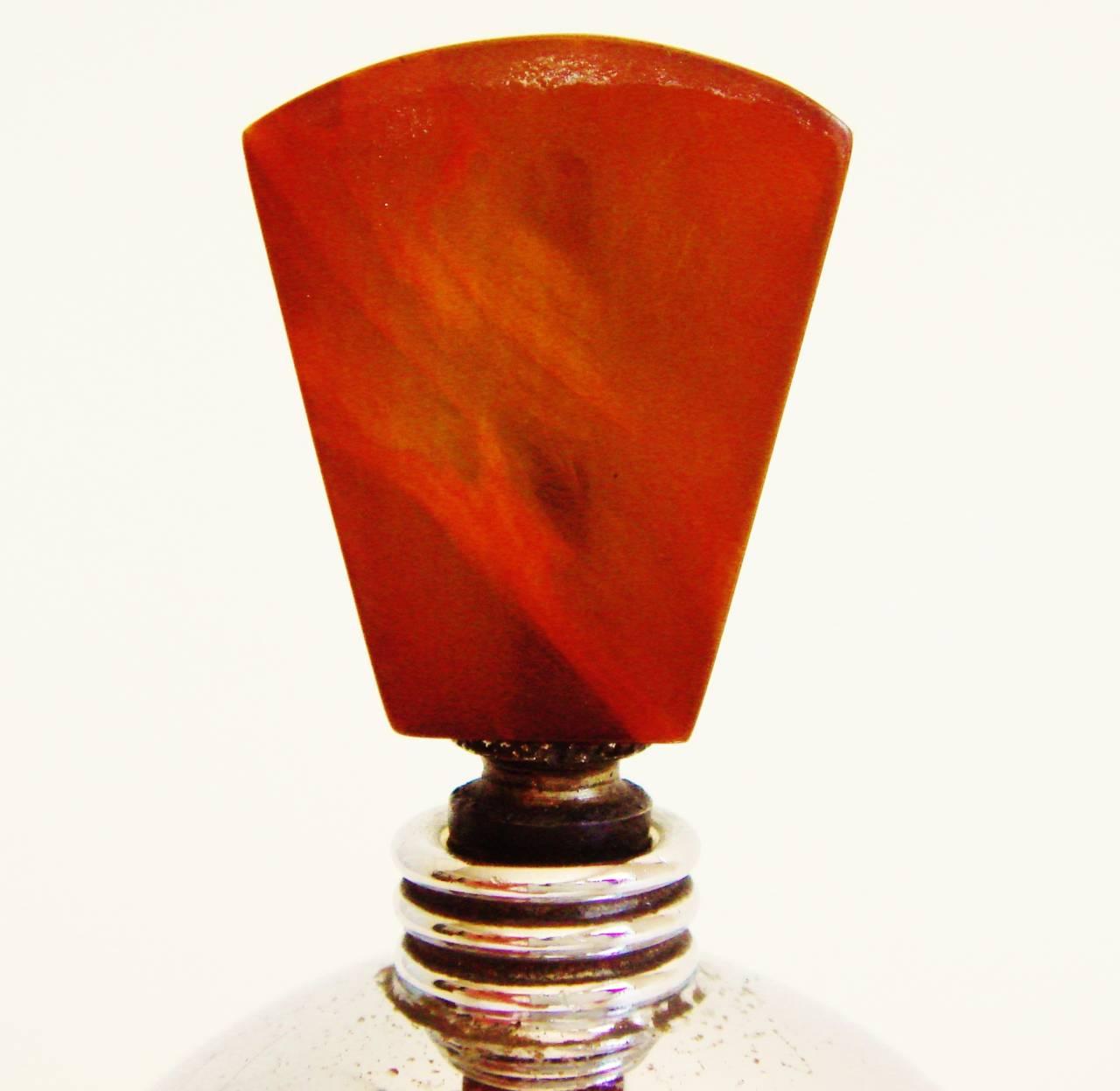 Molded Rare English Art Deco Chrome and Bakelite Spherical Striker Table Lighter For Sale