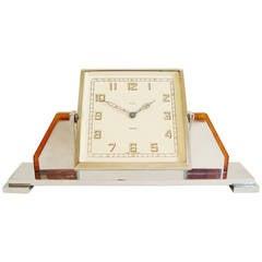 English Art Deco Chrome and Bakelite Mechanical Tilt Eight-Day Clock by Smiths