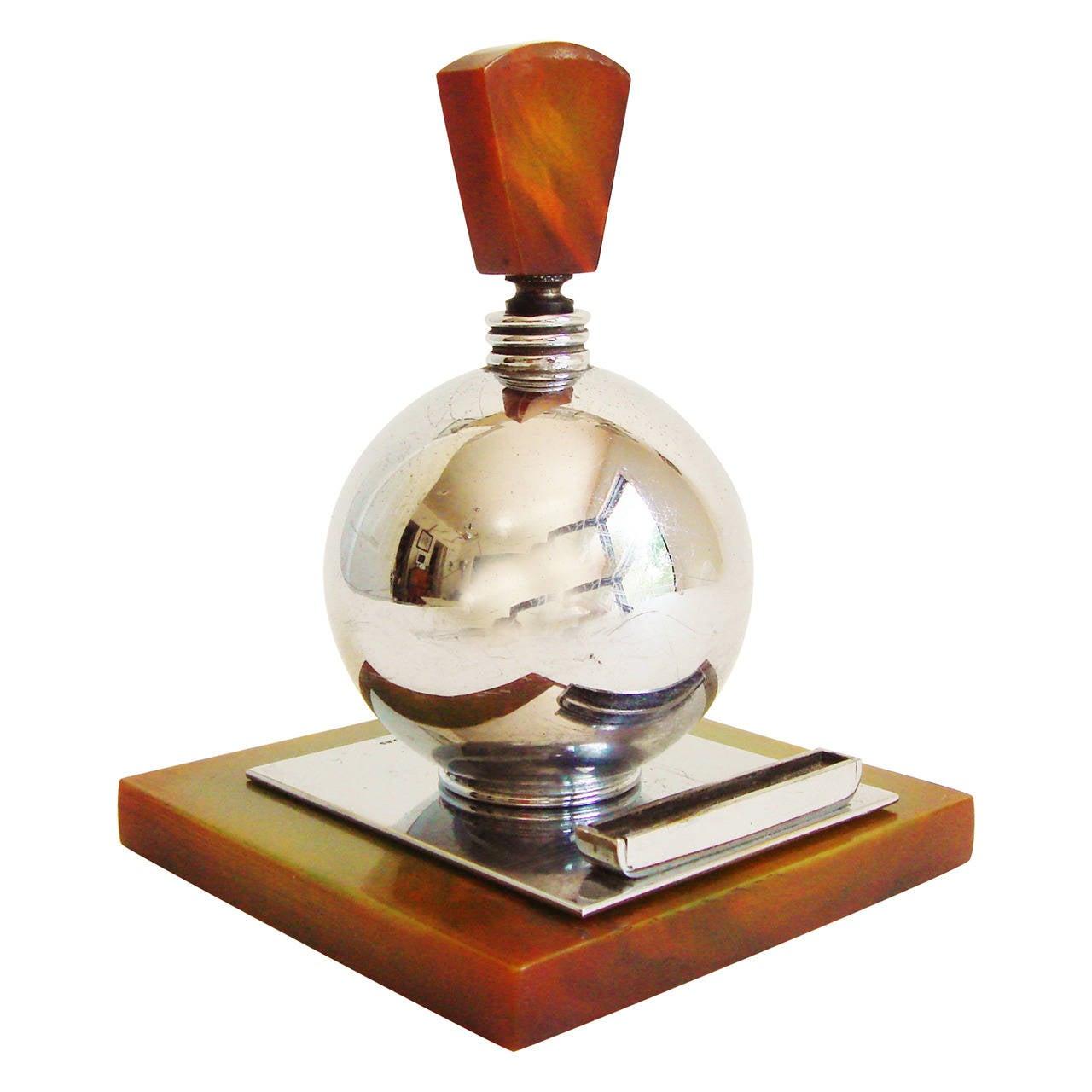 Rare English Art Deco Chrome and Bakelite Spherical Striker Table Lighter