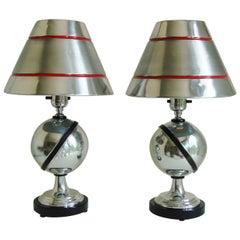 Pair of Canadian Art Deco or Machine Age Aluminium Saturn Lamps by C.F.C.