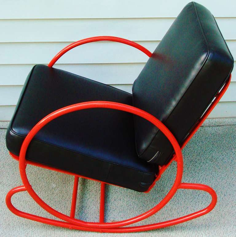 American Art Deco Red Enameled Steel Rocking Chair And Companion Lounge  Chair In Good Condition For