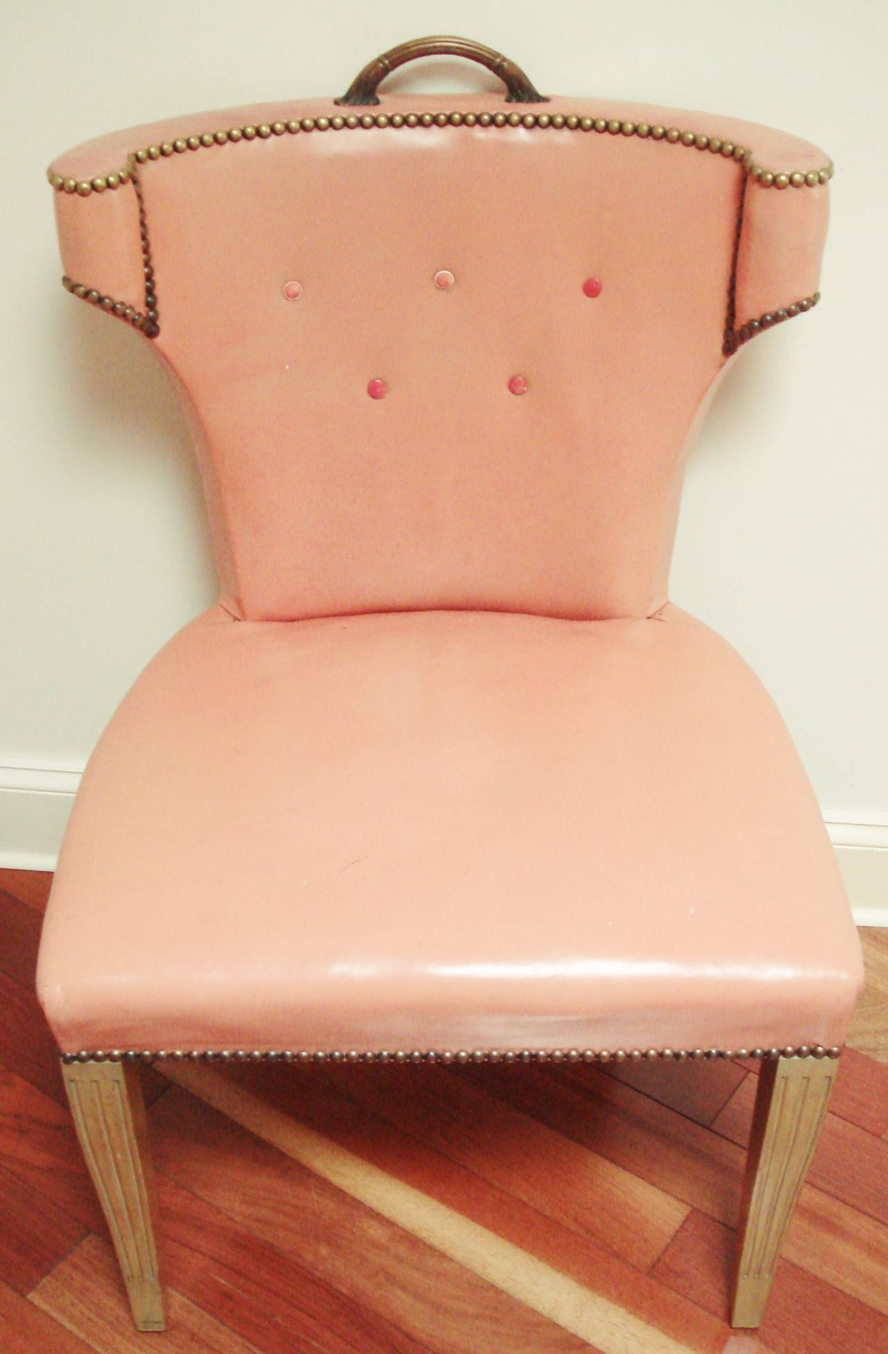 Dyed Rare Pair Of Dorothy Draper Original Leather Scroll Back Klismos Salon  Chairs For Sale