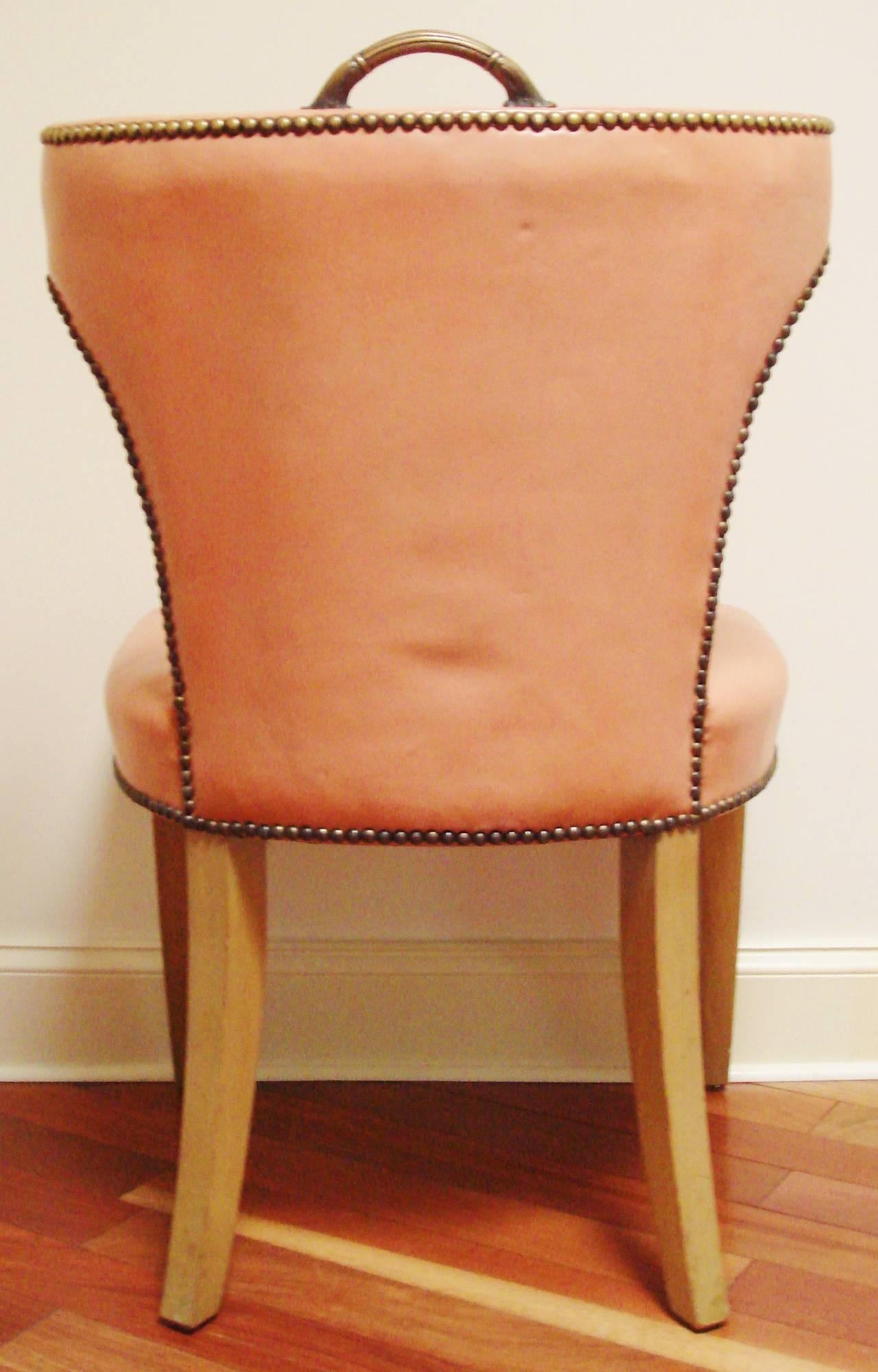 draper original leather scroll back klismos salon chairs at 1stdibs