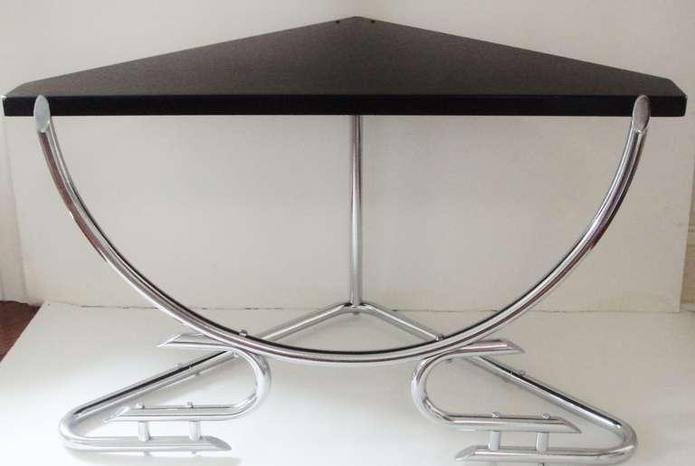 Rare Australian Art Deco Chrome Corner Table With Black Enameled Surface