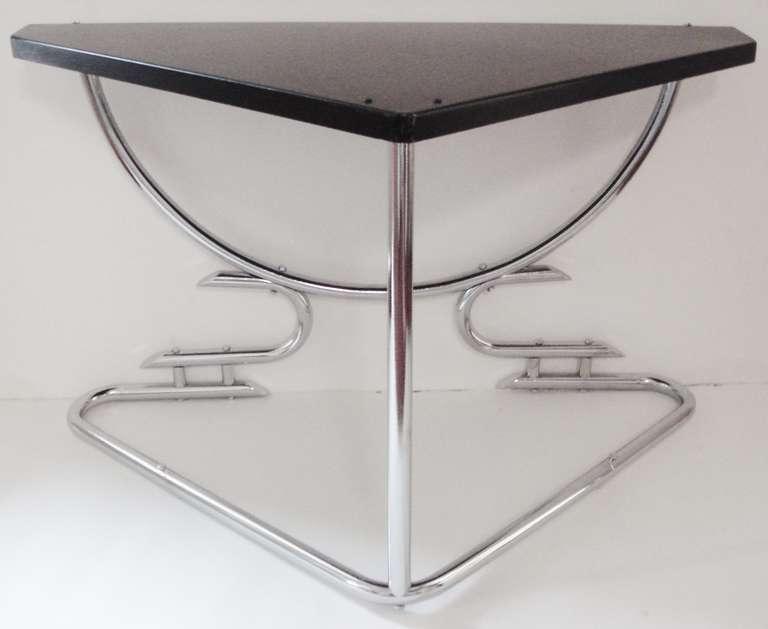 Rare Australian Art Deco Chrome Corner Table with Black Enameled Surface For Sale at 1stdibs