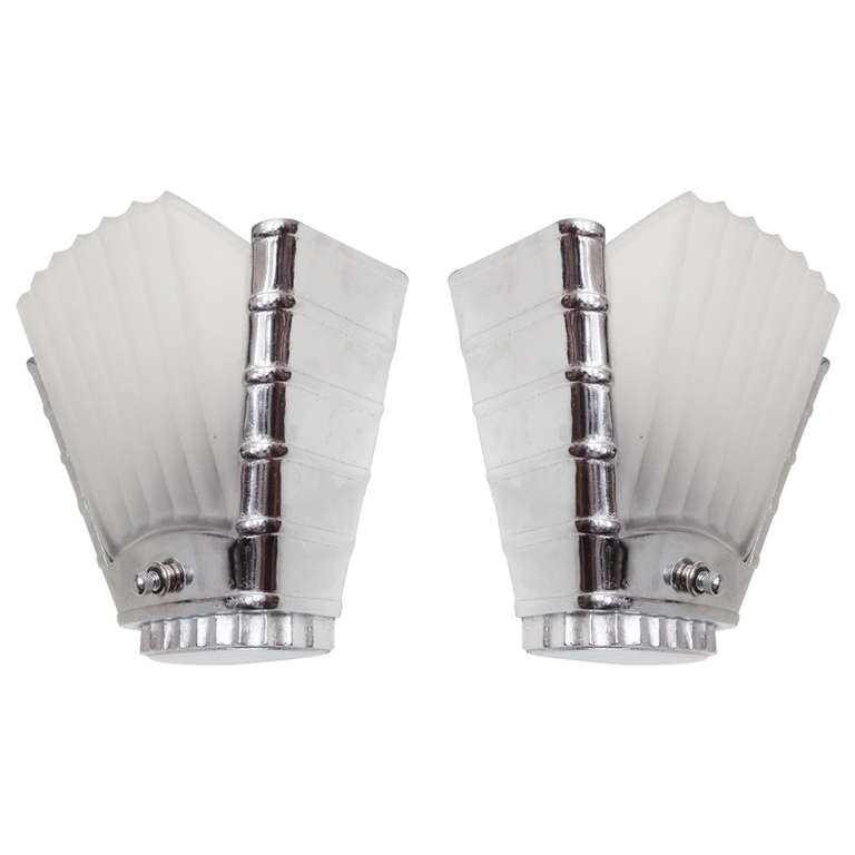 Pair of Canadian Art Deco or Machine Age Chrome and Glass Slip Shade Wall Sconces For Sale