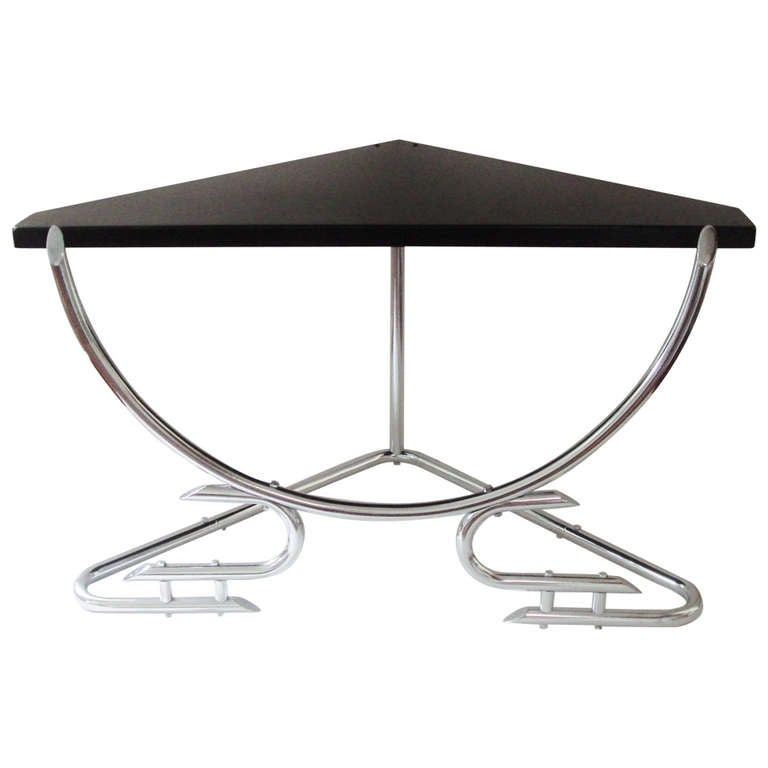 Rare Australian Art Deco Chrome Corner Table With Black Enameled Surface For Sale At 1stdibs