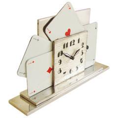 Rare French Art Deco Nickel Chrome and Enamel Four Aces Card Mechanical Clock