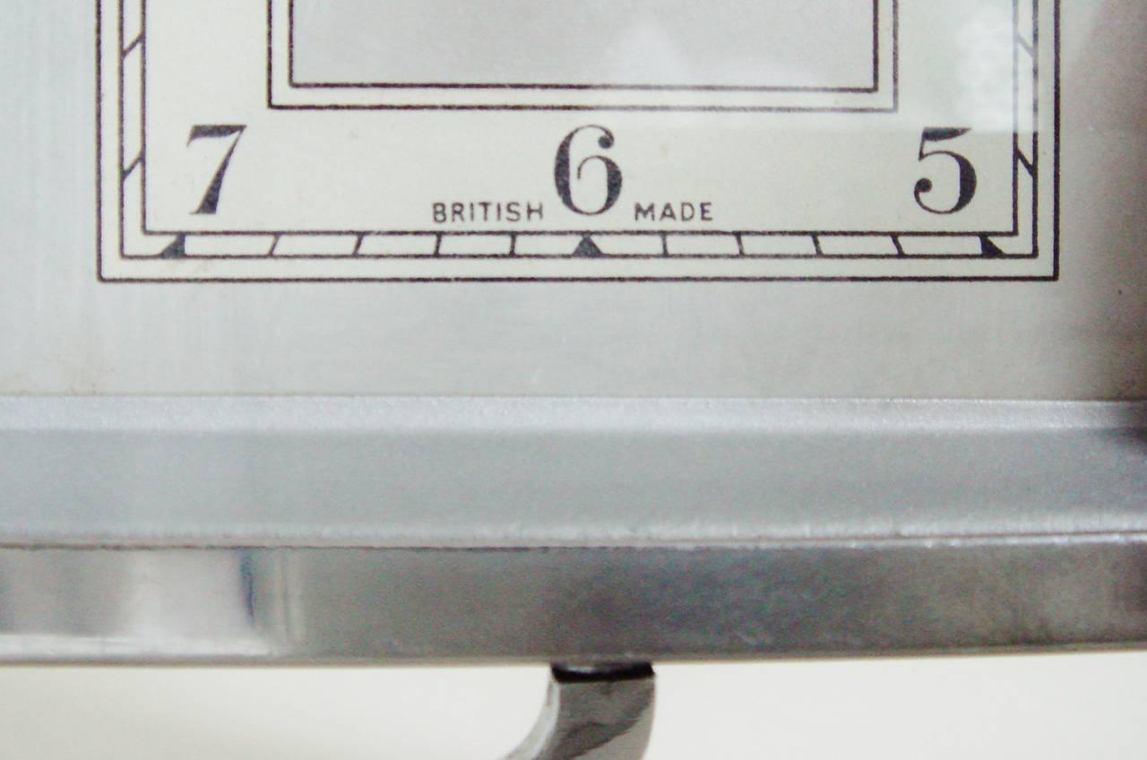 English Art Deco Chrome Rectangular Swivel Desk Clock By