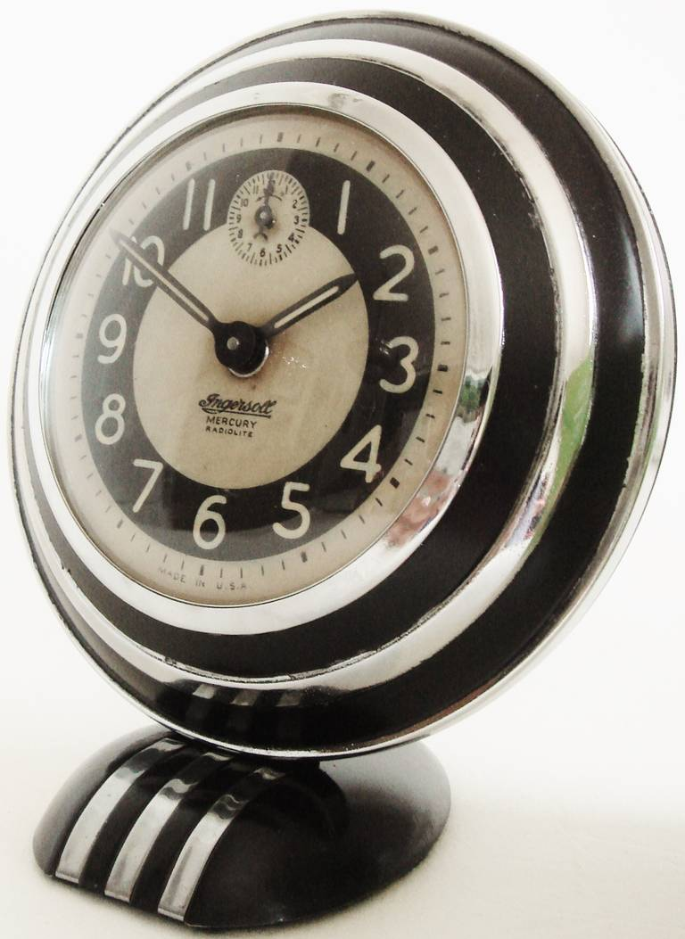 Rare and iconic american art deco mercury radiolite alarm Art deco alarm clocks