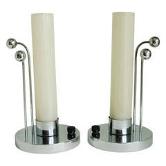 Pair of American Art Deco Chrome Boudoir Lamps with Opaline Glass Shades.