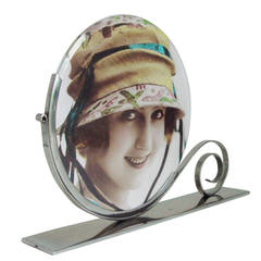 Pretty French Art Deco Chrome Double-Sided Frame with Circular Bevelled Glass.