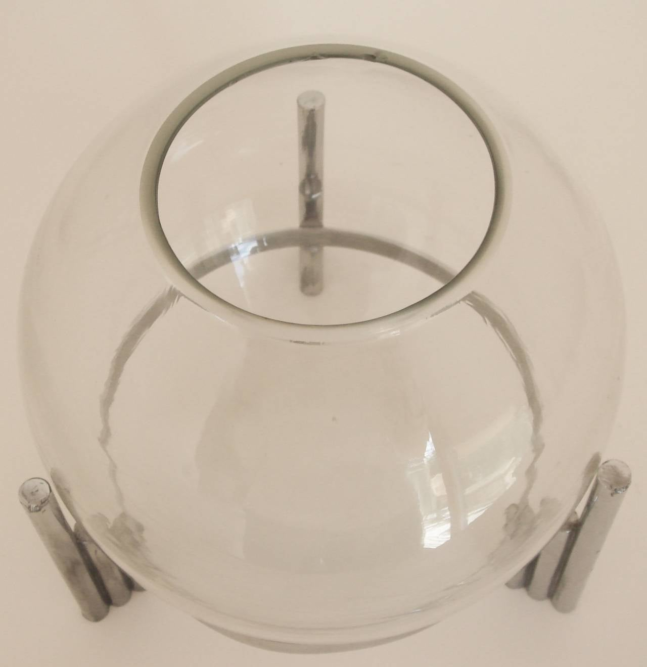 American Art Deco Chrome, Indestructo Plate and Glass Rose Bowl by Benedict For Sale 1