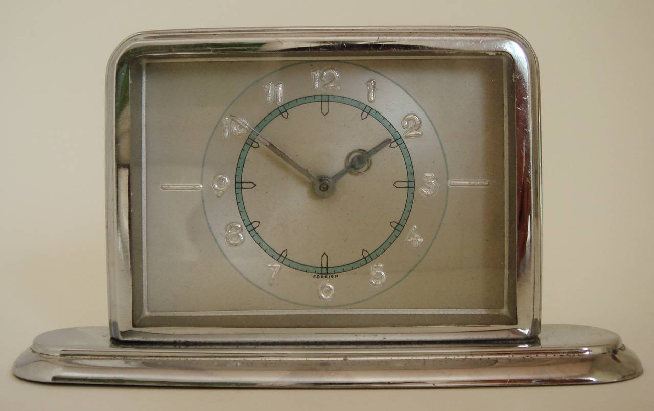 This Delightful Small German Art Deco Desk Clock Has All Original And Near Perfect Chrome Both