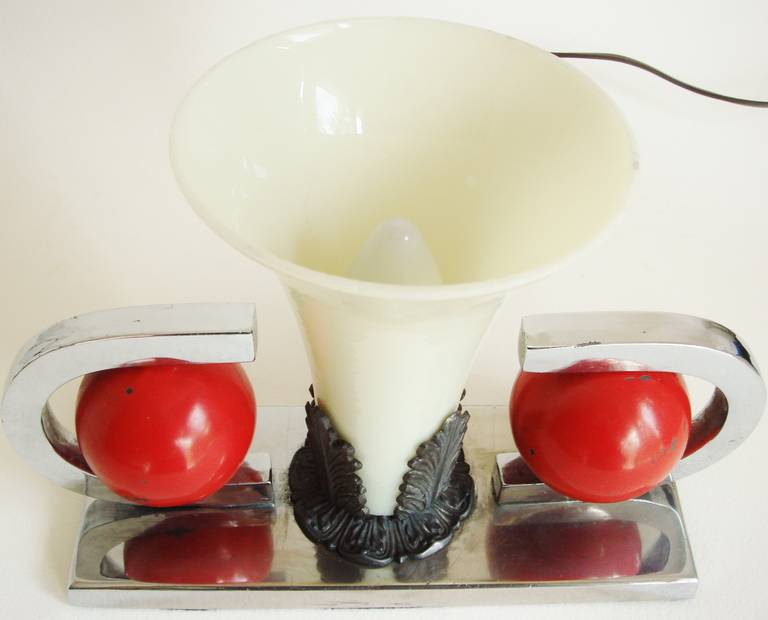 American Art Deco, Nickel Plate and Red Enamel Vaseline Glass Table Lamp 3