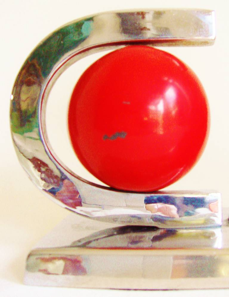 Mid-20th Century American Art Deco, Nickel Plate and Red Enamel Vaseline Glass Table Lamp For Sale
