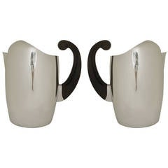 Pair of American Mid Century Aluminium and Hallite Water Pitchers by Wear-Ever