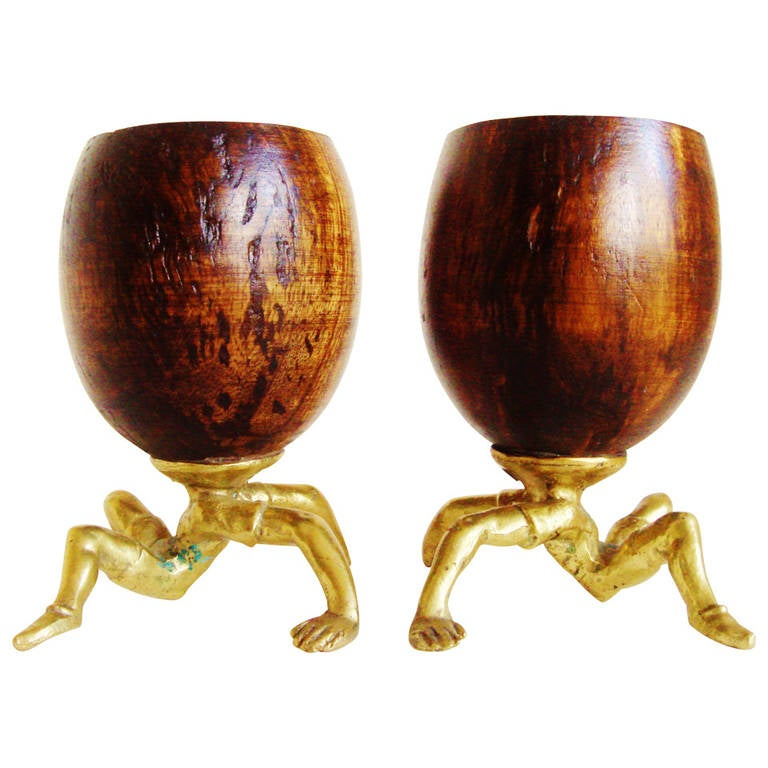 Rare Pair of Early Surreal, Figurative Coconut and Brass Cups by Arthur Court.