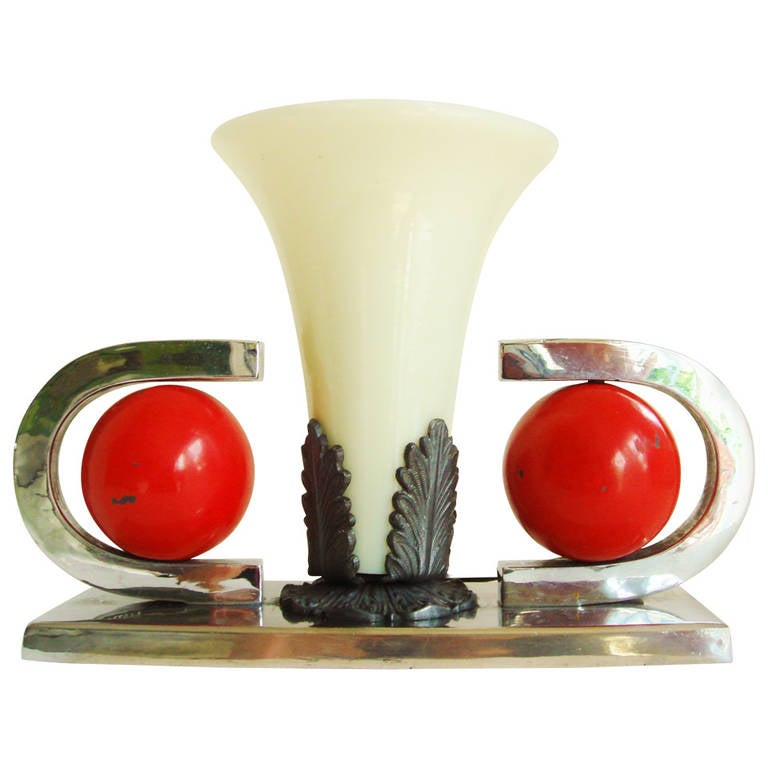 American Art Deco, Nickel Plate and Red Enamel Vaseline Glass Table Lamp For Sale