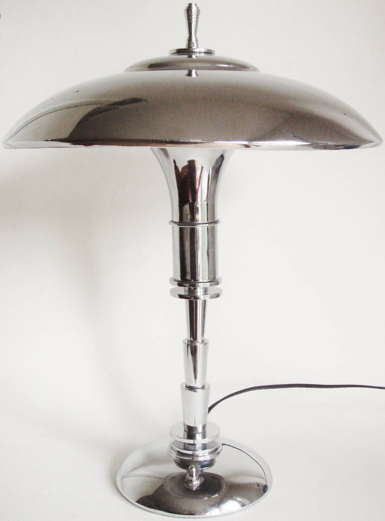 This american art nouveau table lamp is no longer available - American Art Deco Chrome Plated Faries Guardsman Junior Table Lamp 2