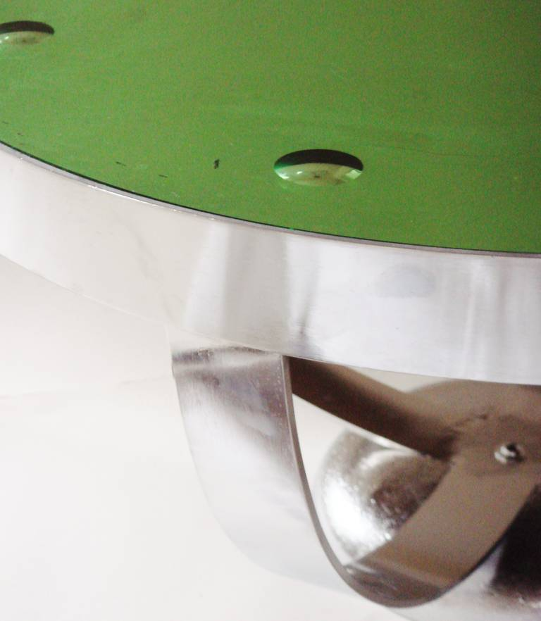 Deco Chrome Coffee Table: American Art Deco Chrome And Green Mirror Coffee Table In