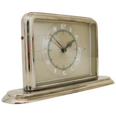 German Art Deco Small Chrome Desk Clock with Blue and Silver Accents