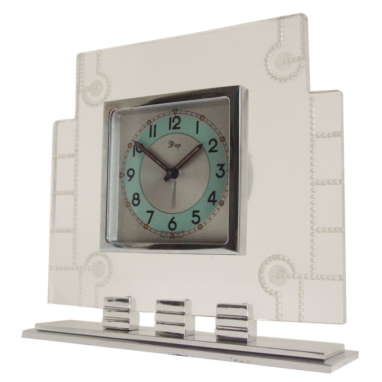 French art deco chrome aluminium and lucite mechanical Art deco alarm clocks