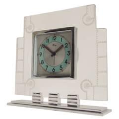 French Art Deco Chrome, Aluminium and Lucite Mechanical Alarm Clock by Dep