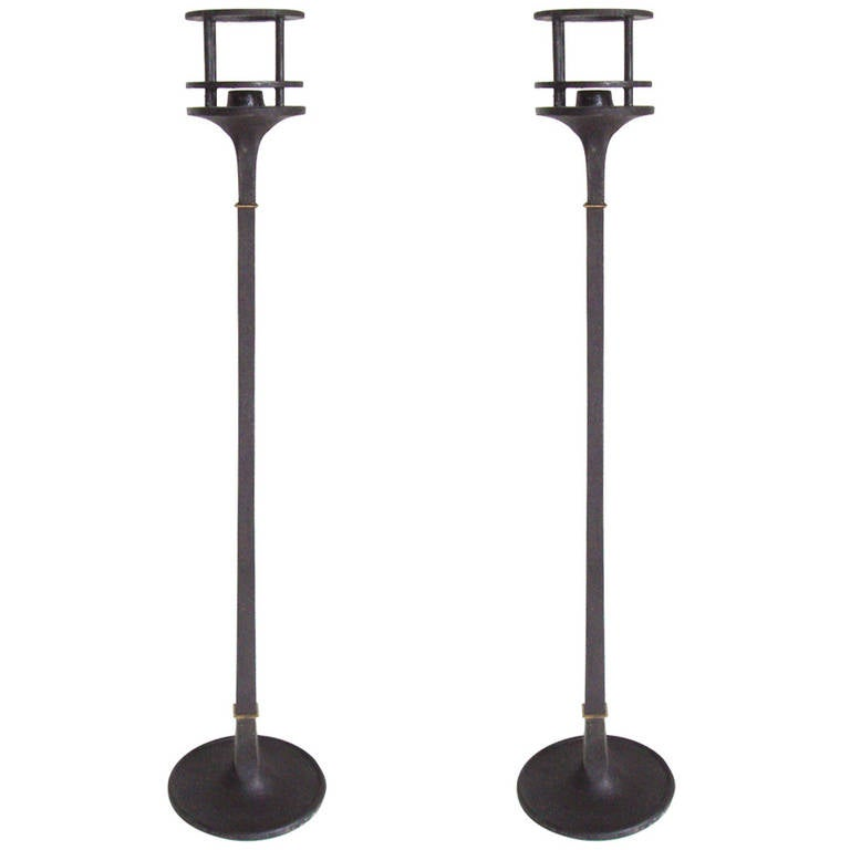 Pair of Elegant Danish Iron and Brass Candlesticks by Jens Quistgaard for Dansk