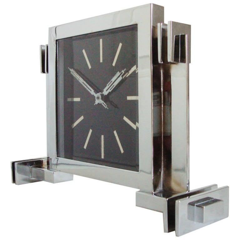 Superb German Art Deco, Mechanical and Architectural Chrome-Plated Desk Clock