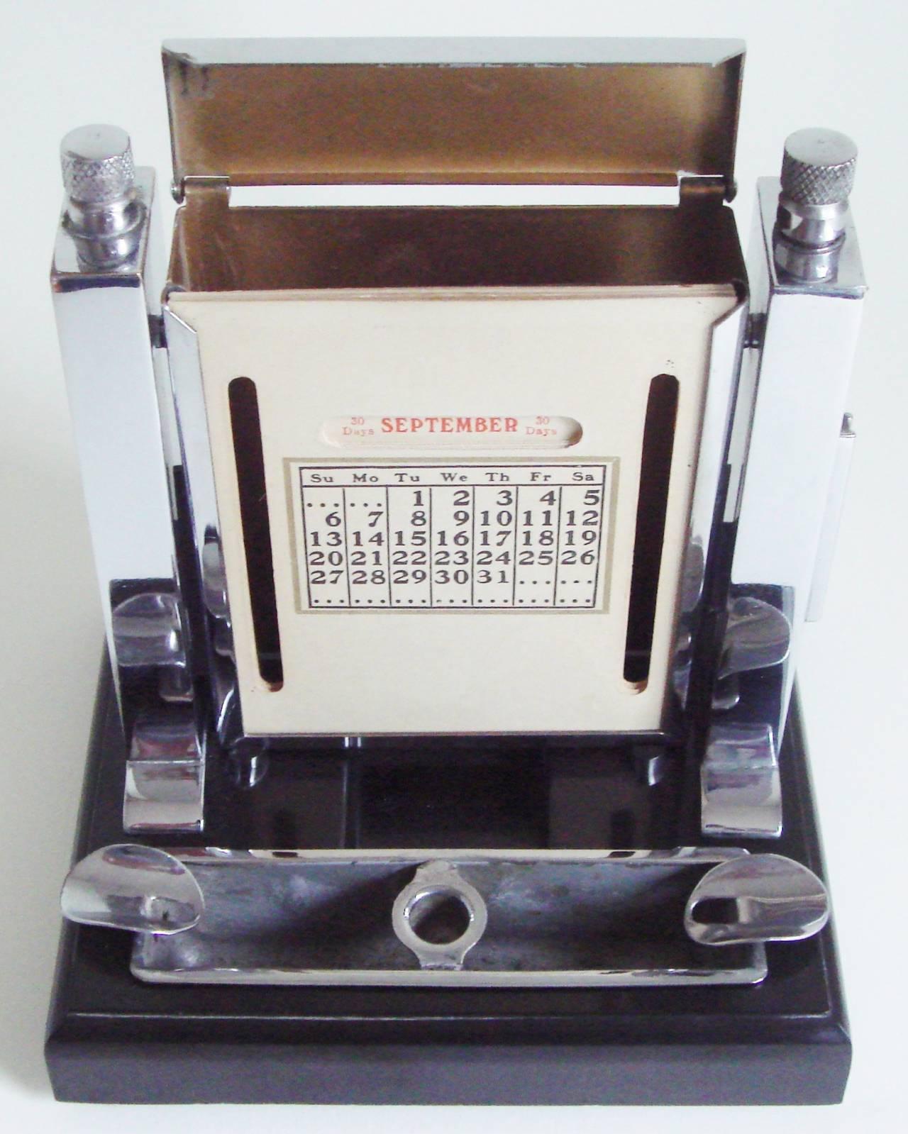 Art Deco Perpetual Calendar, Cigarette Dispenser, Striker Lighter and Ashtray 4