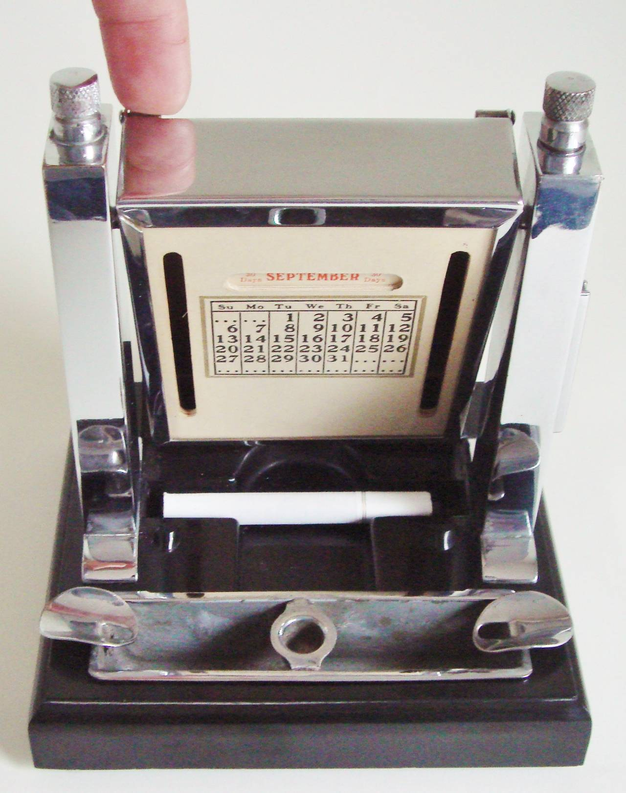 Art Deco Perpetual Calendar, Cigarette Dispenser, Striker Lighter and Ashtray 2
