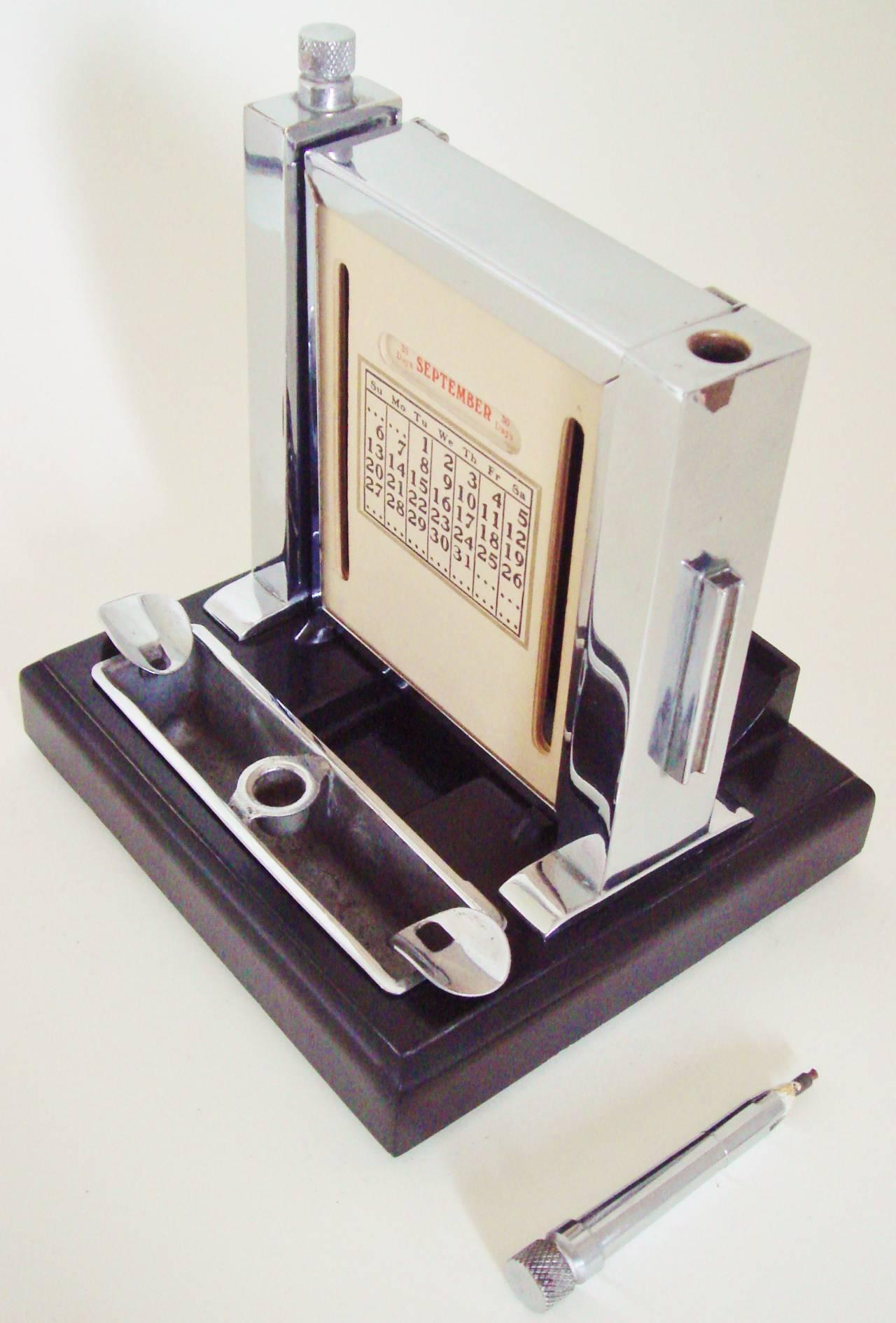 Art Deco Perpetual Calendar, Cigarette Dispenser, Striker Lighter and Ashtray 3
