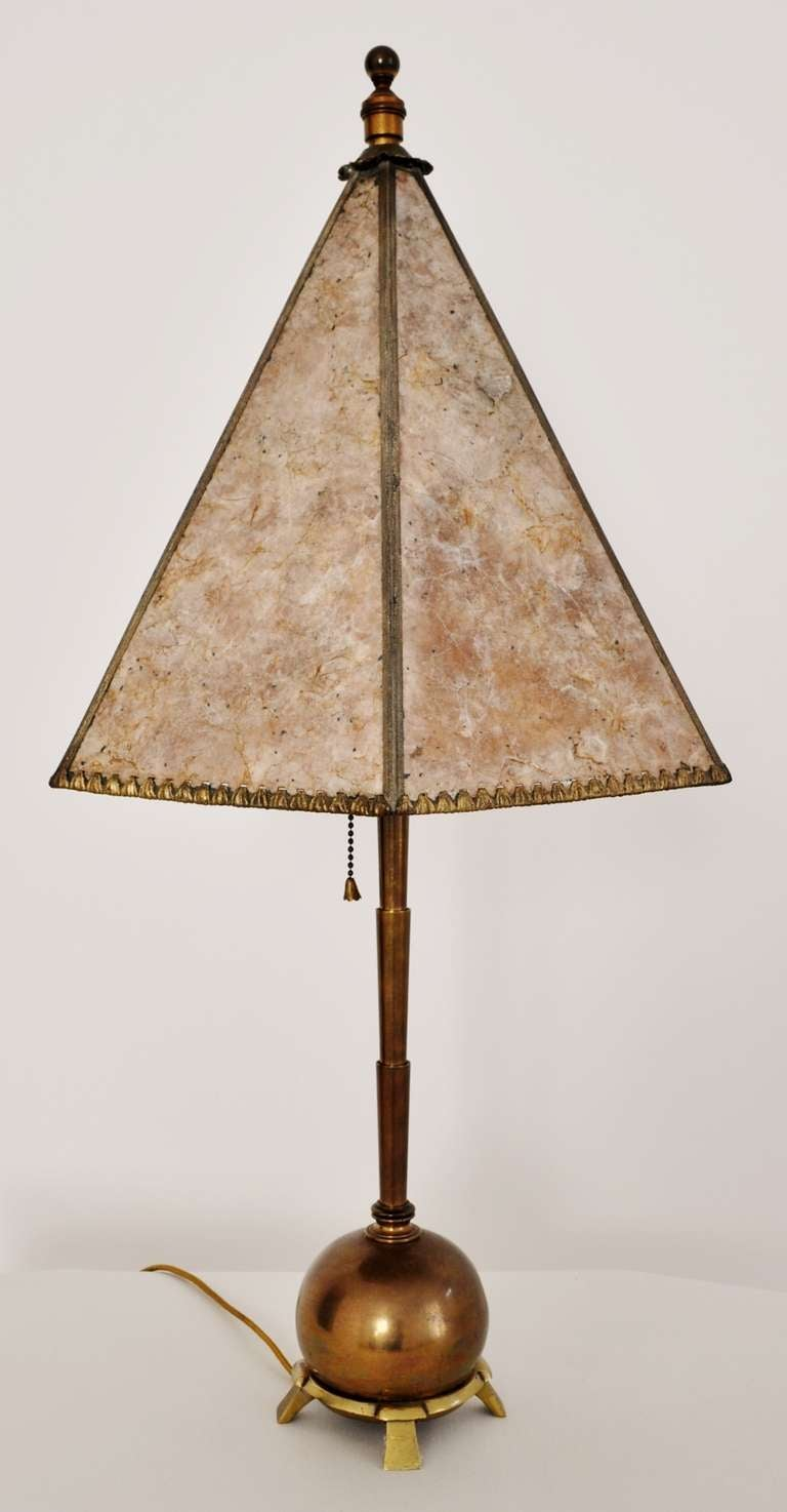 american art deco brass table lamp with mica shade at 1stdibs. Black Bedroom Furniture Sets. Home Design Ideas