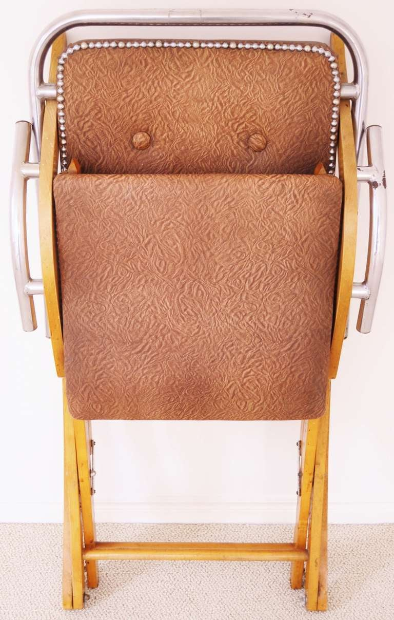 Canadian Mid-Century Modern Folding Rocking Chair in Blonde Wood and Chrome. at 1stdibs