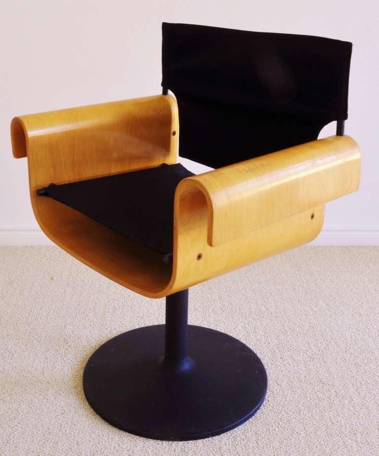 Canadian Mid-Century Set Of Four Bent Plywood Swivel